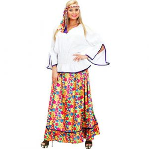 Déguisement hippie peace and love girl velours