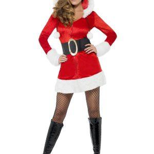 Déguisement Mère Noël robe courte et grosse ceinture