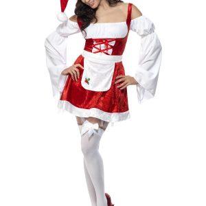 Déguisement Mère Noël robe rouge et blanc et croisés