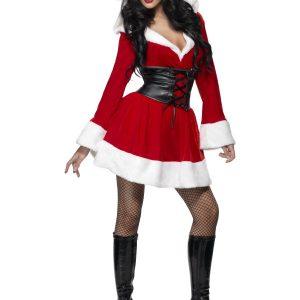 Déguisement Mère Noël robe mi longue rouge grosse ceinture