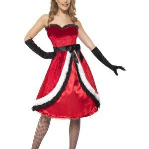Déguisement Mère Noël robe longue rouge blanche et noire