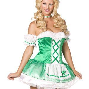 Déguisement robe verte et croisés femme Noël