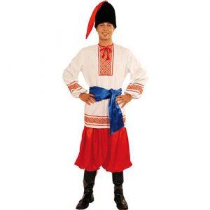 Déguisement slave rouge blanc ceinture bleue
