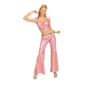 Ensemble style disco brassière et pantalon rose brillant