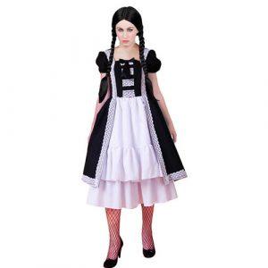 Robe mi-longue style gothique noire et blanche