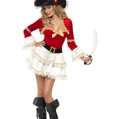 costume femme sexy pirate rouge et blanc
