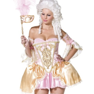 costume femme sexy baroque rose et or