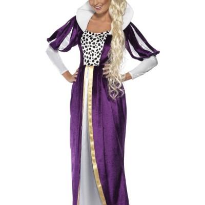 costume femme reine violet et blanc