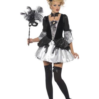 costume femme sexy baronne noir et blanc
