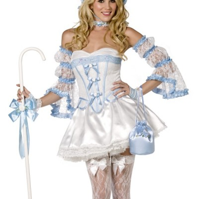 costume femme sexy blanc et bleu