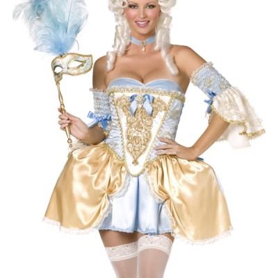 costume femme sexy baroque bleu et or