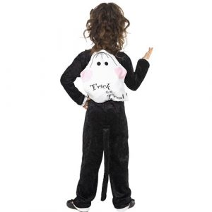 Costume enfant chat noir farce ou friandise dos