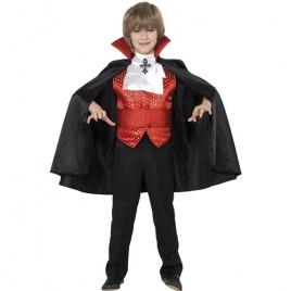 Costume enfant Dracula rouge noir