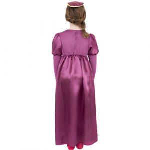 Costume enfant fille Tudor robe longue rose dos