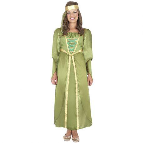 Costume enfant jeune fille médiévale vert et doré