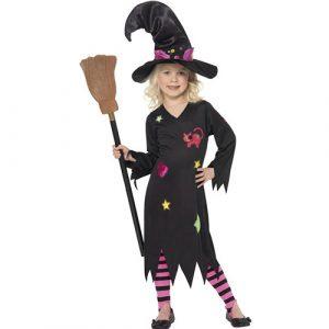 Costume enfant petite sorcière robe noire - perruques