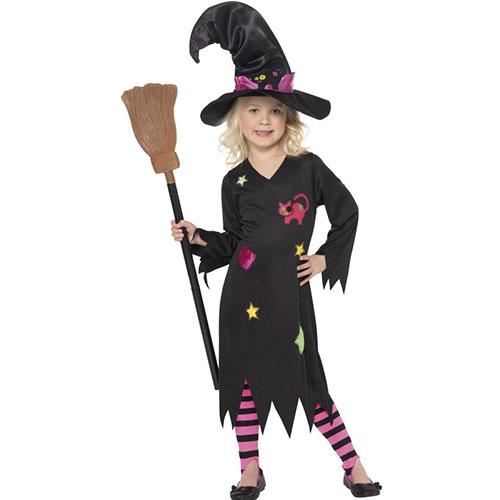 costume enfant petite sorcire robe noire maquillage