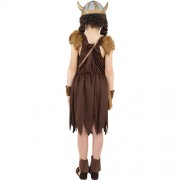 Costume enfant petite viking marron dos