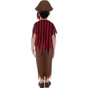 Costume enfant pirate rouge noir marron dos