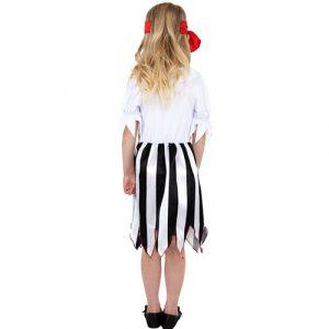 Costume enfant fille pirate rayé noir blanc dos