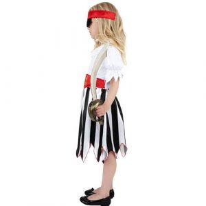 Costume enfant fille pirate rayé noir blanc profil
