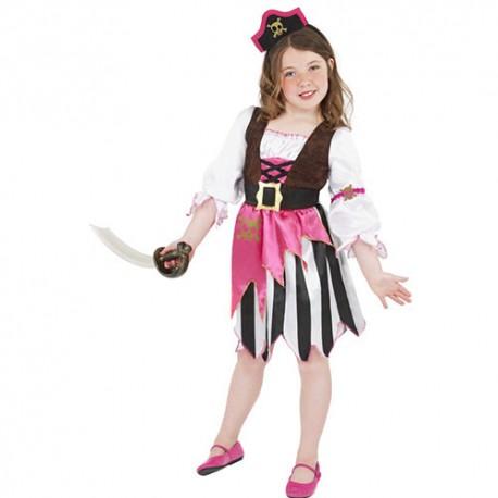 Costume enfant fille pirate noir blanc rose