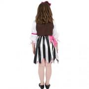 Costume enfant fille pirate noir blanc rose dos