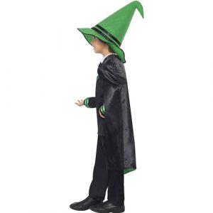 Costume enfant sorcier vert noir profil