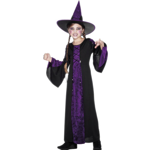 costume enfant sorci re noir et violet robe longue d guisement halloween. Black Bedroom Furniture Sets. Home Design Ideas