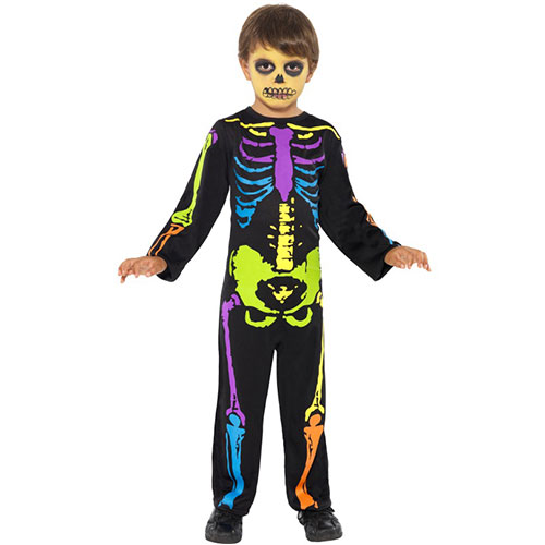 costume enfant squelette fluo combinaison effet n on. Black Bedroom Furniture Sets. Home Design Ideas