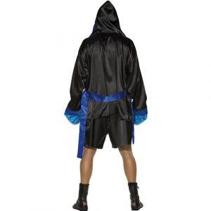 Costume homme boxeur noir bleu dos