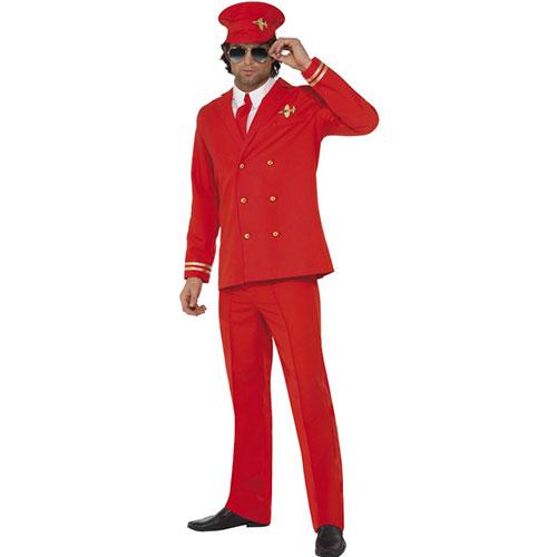 costume homme commandant de bord ensemble rouge. Black Bedroom Furniture Sets. Home Design Ideas