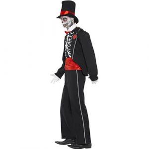 Costume homme squelette élégant profil