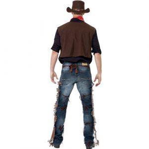 Costume homme cowboy marron blanc dos