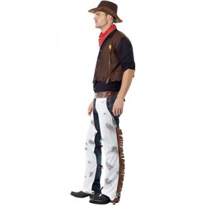 Costume homme cowboy marron blanc profil