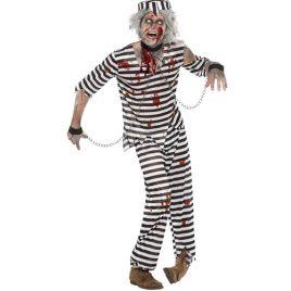 Costume homme détenu zombie rayé