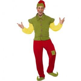 Costume homme elfe vert jaune rouge