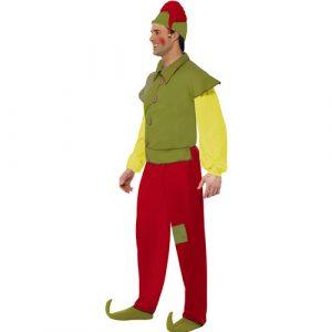 Costume homme elfe vert jaune rouge profil