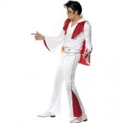 Costume homme Elvis blanc rouge profil