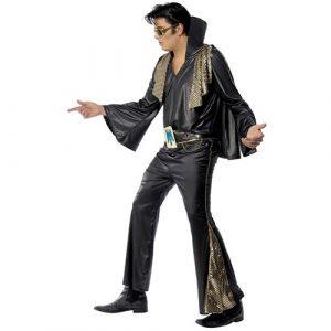 Costume homme Elvis noir doré profil