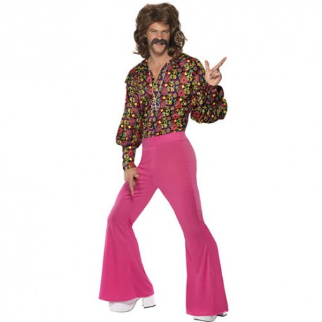 Costume homme hippie années 1960 rose