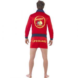 Costume homme maître nageur rouge dos