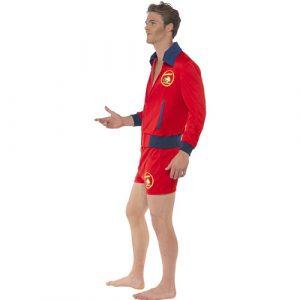Costume homme maître nageur rouge profil