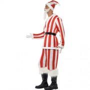 Costume homme père Noël rayé rouge blanc profil