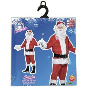 Costume homme père Noël velours pochette