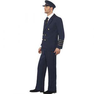 Costume homme pilote bleu marine profil