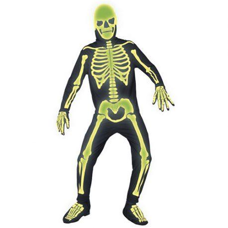 Costume homme squelette néon vert