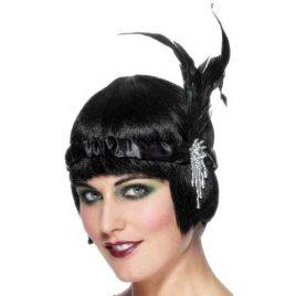 Bandeau charleston noir plumes
