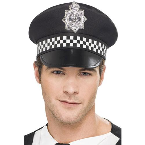 Noire Casquette Policier Imprimée Blanche Avec Argent Insigne RjqL4A53