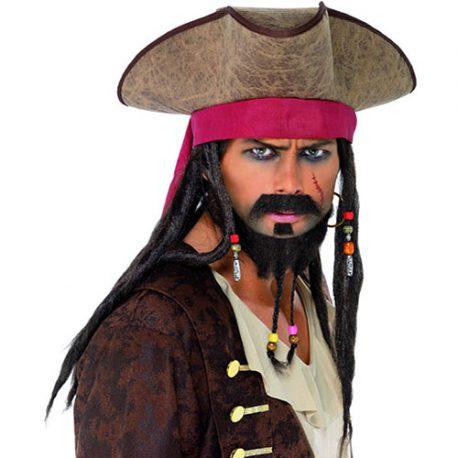 Chapeau pirate des Caraïbes dreadlocks